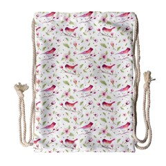 Watercolor Birds Magnolia Spring Pattern Drawstring Bag (large) by EDDArt