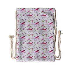 Watercolor Birds Magnolia Spring Pattern Drawstring Bag (small) by EDDArt