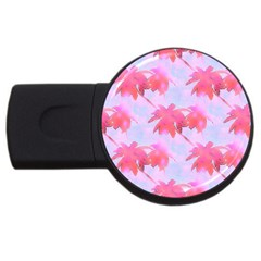 Palm Trees Paradise Pink Pastel Usb Flash Drive Round (4 Gb)