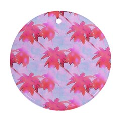 Palm Trees Paradise Pink Pastel Round Ornament (two Sides)