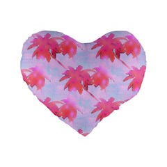Palm Trees Paradise Pink Pastel Standard 16  Premium Flano Heart Shape Cushions by CrypticFragmentsColors