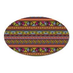 Traditional Africa Border Wallpaper Pattern Colored 2 Oval Magnet by EDDArt