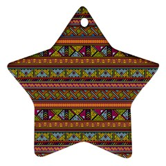 Traditional Africa Border Wallpaper Pattern Colored 2 Star Ornament (two Sides) by EDDArt