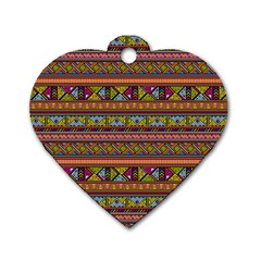 Traditional Africa Border Wallpaper Pattern Colored 2 Dog Tag Heart (one Side) by EDDArt