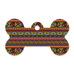 Traditional Africa Border Wallpaper Pattern Colored 2 Dog Tag Bone (two Sides) by EDDArt