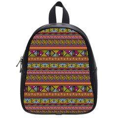 Traditional Africa Border Wallpaper Pattern Colored 2 School Bag (small) by EDDArt