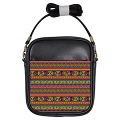 Traditional Africa Border Wallpaper Pattern Colored 2 Girls Sling Bags by EDDArt