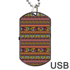Traditional Africa Border Wallpaper Pattern Colored 2 Dog Tag Usb Flash (two Sides) by EDDArt