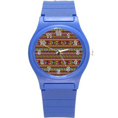 Traditional Africa Border Wallpaper Pattern Colored 2 Round Plastic Sport Watch (s) by EDDArt