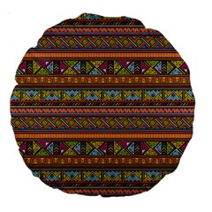 Traditional Africa Border Wallpaper Pattern Colored 2 Large 18  Premium Round Cushions by EDDArt