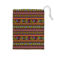 Traditional Africa Border Wallpaper Pattern Colored 2 Drawstring Pouches (large)  by EDDArt