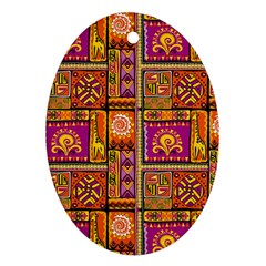 Traditional Africa Border Wallpaper Pattern Colored 3 Ornament (oval) by EDDArt