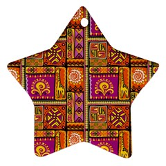 Traditional Africa Border Wallpaper Pattern Colored 3 Ornament (star) by EDDArt