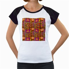 Traditional Africa Border Wallpaper Pattern Colored 3 Women s Cap Sleeve T
