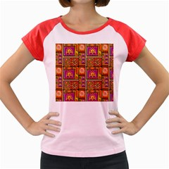 Traditional Africa Border Wallpaper Pattern Colored 3 Women s Cap Sleeve T Shirt