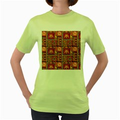 Traditional Africa Border Wallpaper Pattern Colored 3 Women s Green T Shirt