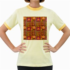 Traditional Africa Border Wallpaper Pattern Colored 3 Women s Fitted Ringer T Shirts