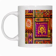 Traditional Africa Border Wallpaper Pattern Colored 3 White Mugs
