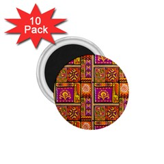 Traditional Africa Border Wallpaper Pattern Colored 3 1 75  Magnets (10 Pack)