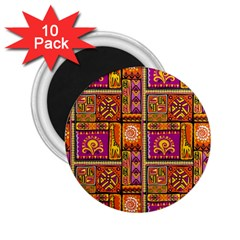 Traditional Africa Border Wallpaper Pattern Colored 3 2 25  Magnets (10 Pack)
