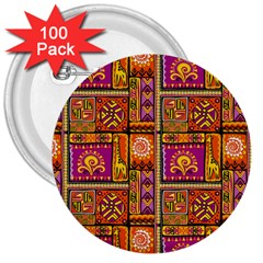 Traditional Africa Border Wallpaper Pattern Colored 3 3  Buttons (100 Pack)