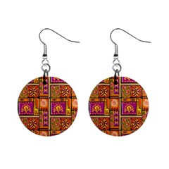Traditional Africa Border Wallpaper Pattern Colored 3 Mini Button Earrings