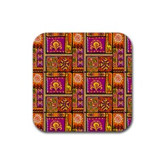 Traditional Africa Border Wallpaper Pattern Colored 3 Rubber Square Coaster (4 Pack)