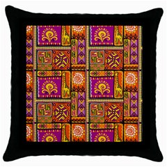 Traditional Africa Border Wallpaper Pattern Colored 3 Throw Pillow Case (black)