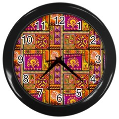 Traditional Africa Border Wallpaper Pattern Colored 3 Wall Clock (black)