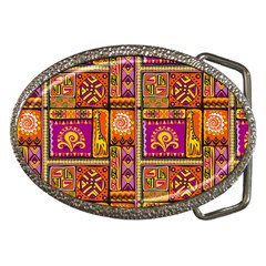 Traditional Africa Border Wallpaper Pattern Colored 3 Belt Buckles