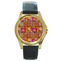 Traditional Africa Border Wallpaper Pattern Colored 3 Round Gold Metal Watch