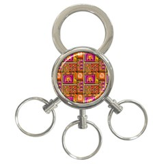 Traditional Africa Border Wallpaper Pattern Colored 3 3 Ring Key Chains