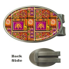Traditional Africa Border Wallpaper Pattern Colored 3 Money Clips (oval)