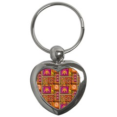 Traditional Africa Border Wallpaper Pattern Colored 3 Key Chains (heart)