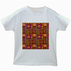 Traditional Africa Border Wallpaper Pattern Colored 3 Kids White T Shirts