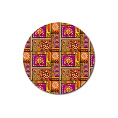Traditional Africa Border Wallpaper Pattern Colored 3 Magnet 3  (round)