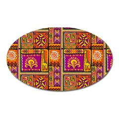 Traditional Africa Border Wallpaper Pattern Colored 3 Oval Magnet