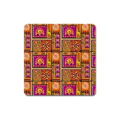 Traditional Africa Border Wallpaper Pattern Colored 3 Square Magnet