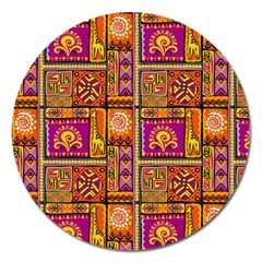 Traditional Africa Border Wallpaper Pattern Colored 3 Magnet 5  (round)