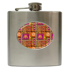 Traditional Africa Border Wallpaper Pattern Colored 3 Hip Flask (6 Oz)