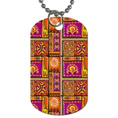 Traditional Africa Border Wallpaper Pattern Colored 3 Dog Tag (two Sides)