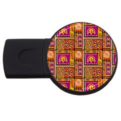 Traditional Africa Border Wallpaper Pattern Colored 3 Usb Flash Drive Round (2 Gb)