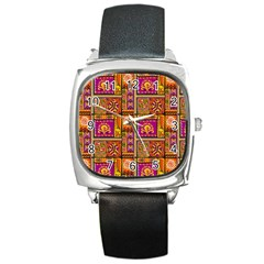 Traditional Africa Border Wallpaper Pattern Colored 3 Square Metal Watch