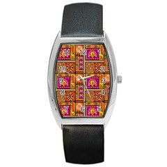 Traditional Africa Border Wallpaper Pattern Colored 3 Barrel Style Metal Watch