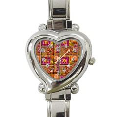 Traditional Africa Border Wallpaper Pattern Colored 3 Heart Italian Charm Watch