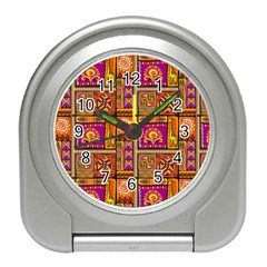 Traditional Africa Border Wallpaper Pattern Colored 3 Travel Alarm Clock