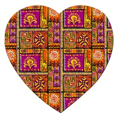Traditional Africa Border Wallpaper Pattern Colored 3 Jigsaw Puzzle (heart)