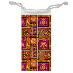 Traditional Africa Border Wallpaper Pattern Colored 3 Jewelry Bags