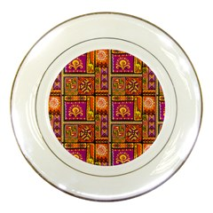 Traditional Africa Border Wallpaper Pattern Colored 3 Porcelain Plates