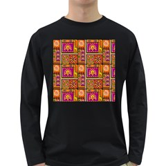 Traditional Africa Border Wallpaper Pattern Colored 3 Long Sleeve Dark T Shirts